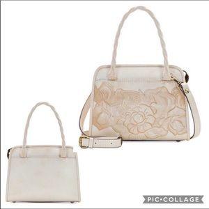 Patricia Nash White Rose Tooled Paris Satchel Bag